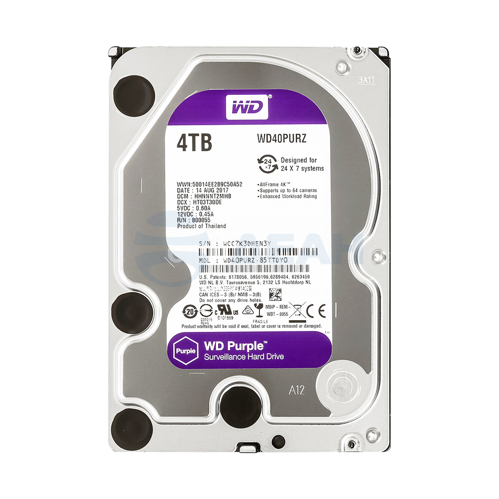 Жесткий диск HDD WD40PURZ 4000 GB (4 TB) Purple (Western Digital)