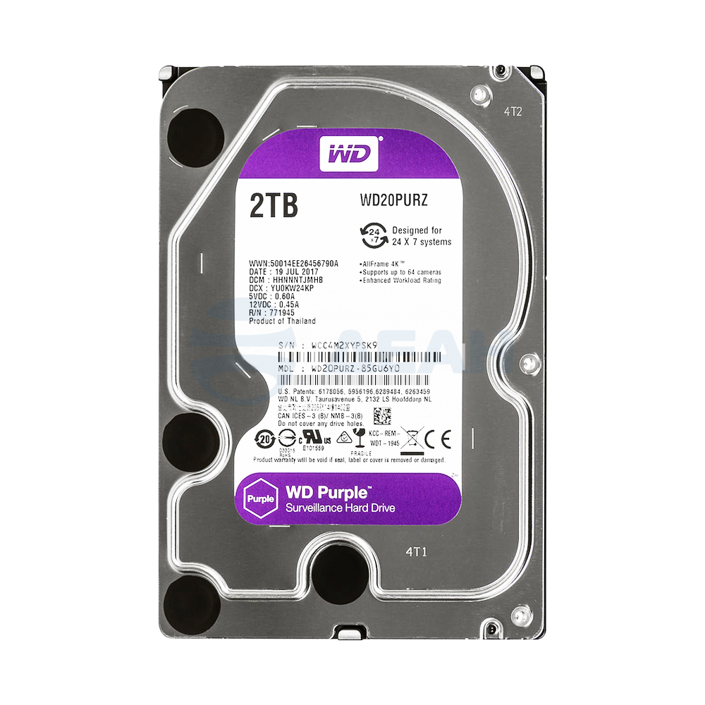 Жесткий диск HDD WD20PURZ 2000 GB (2 TB) Purple  (Western Digital)